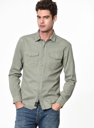 Mavi Cep Detaylı Uzun Kollu Gömlek Yeşil